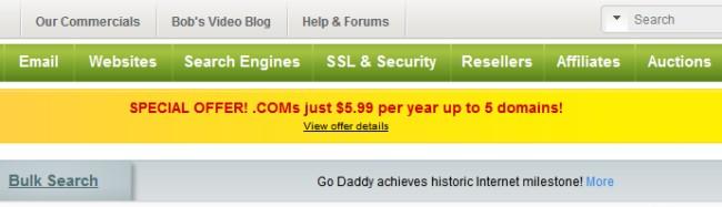 скидка на регистрацию .COM-доменов на ГоуДэдди