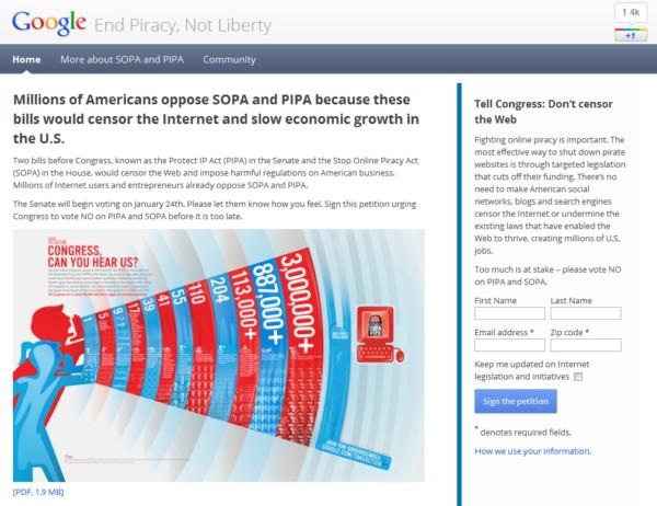 Google против принятия SOPA и PIPA