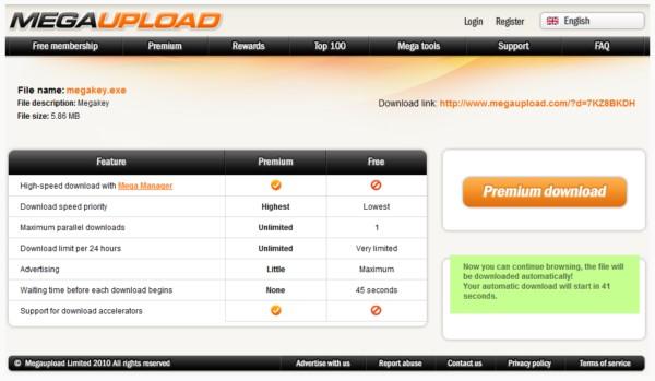 сервис обмена файлами Megaupload.com