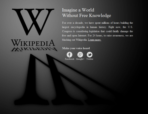 Wikipedia против принятия SOPA/PIPA