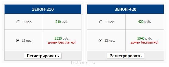 тарифы unix-хостинга Зенон-210 и Зенон-420