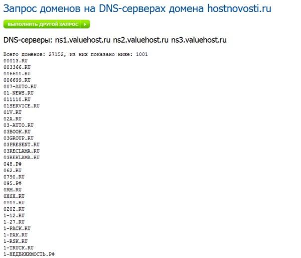 результат работы запроса DNS-reverse