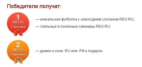 призы новогоднего конкурса Рег.Ру