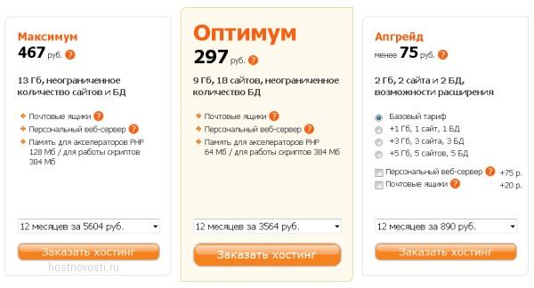 три новых тарифа веб-хостинга